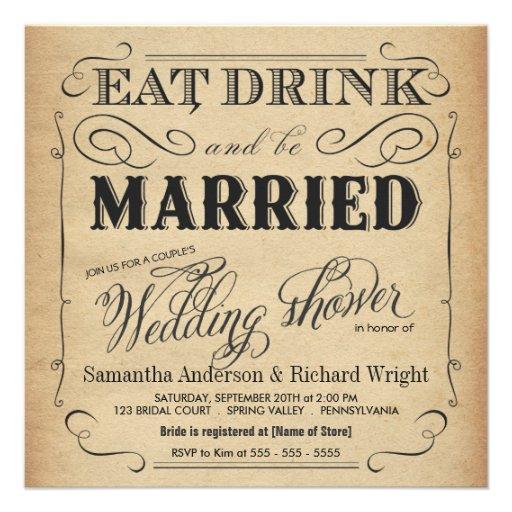 Invitaciones rústicas de la ducha del boda del vin invitacion personal
