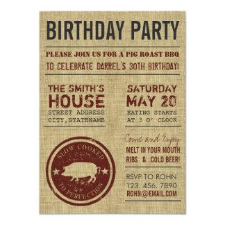 Invitaciones rústicas de la fiesta de cumpleaños invitaciones personalizada