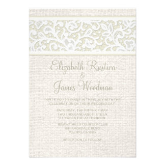Invitaciones rústicas de marfil del boda de la arp
