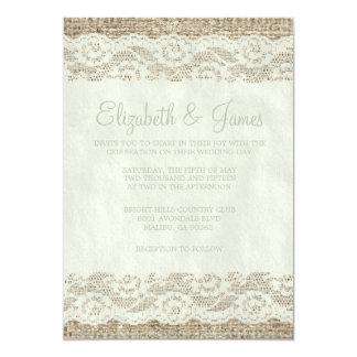 Invitaciones rústicas de marfil del boda del invitación 12,7 x 17,8 cm
