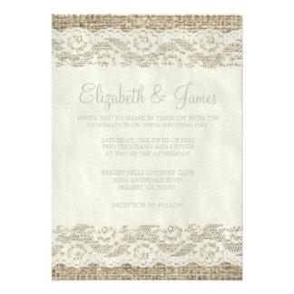 Invitaciones rústicas de marfil del boda del cordó