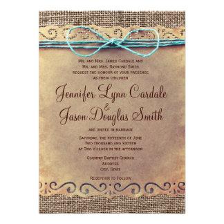 Invitaciones rústicas del boda de la arpillera del