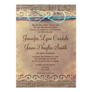 Invitaciones rústicas del boda de la arpillera del comunicado personalizado