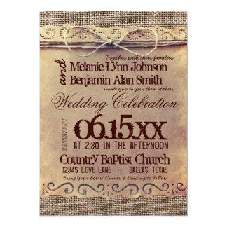 Invitaciones rústicas del boda de la arpillera del comunicados