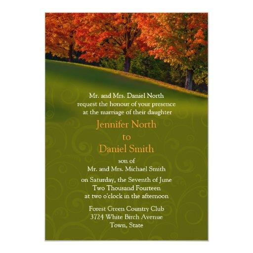 Invitaciones rústicas del boda de la caída invitación 12,7 x 17,8 cm