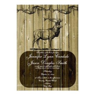 Invitaciones rústicas del boda de la caza de la fa comunicados personalizados