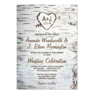 """Invitaciones rústicas del boda de la corteza de invitación 5"""" x 7"""""""
