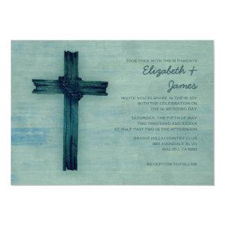 Invitaciones rústicas del boda de la cruz del invitación 12,7 x 17,8 cm