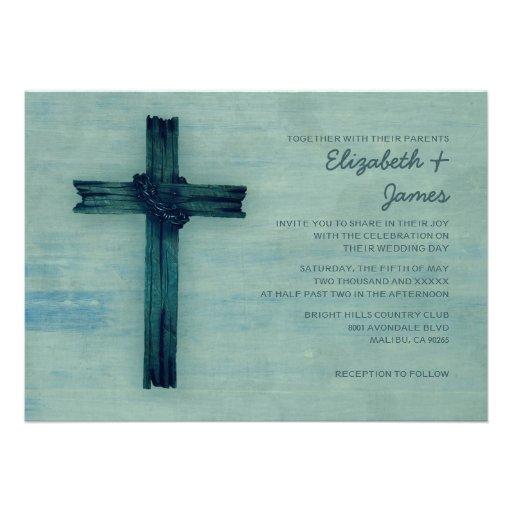 Invitaciones rústicas del boda de la cruz del hier invitación