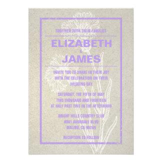 Invitaciones rústicas del boda de la lavanda del v