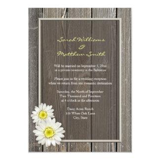 Invitaciones rústicas del boda de la margarita de invitación 12,7 x 17,8 cm