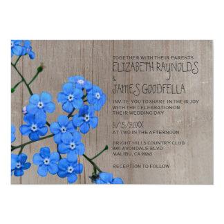 Invitaciones rústicas del boda de la nomeolvides invitación 12,7 x 17,8 cm
