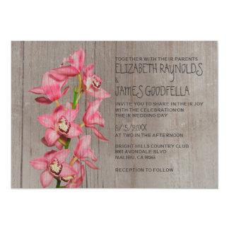 """Invitaciones rústicas del boda de la orquídea del invitación 5"""" x 7"""""""