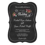 Invitaciones rústicas del boda de la pizarra flora comunicados personalizados