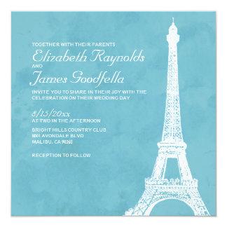"""Invitaciones rústicas del boda de la torre Eiffel Invitación 5.25"""" X 5.25"""""""
