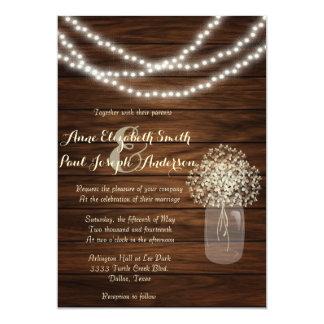 Invitaciones rústicas del boda de los tarros y de anuncio personalizado