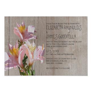 Invitaciones rústicas del boda del Alstroemeria Invitación 12,7 X 17,8 Cm
