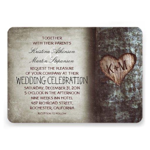 Invitaciones rústicas del boda del árbol anuncios