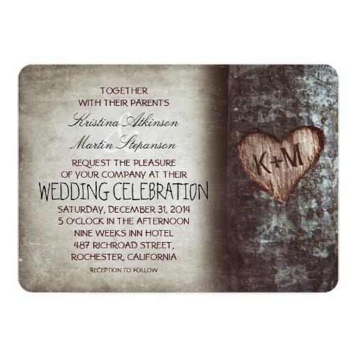 Invitaciones rústicas del boda del árbol invitación 12,7 x 17,8 cm