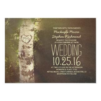 Invitaciones rústicas del boda del árbol de abedul invitación 12,7 x 17,8 cm