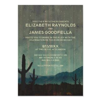 Invitaciones rústicas del boda del cactus comunicado personalizado
