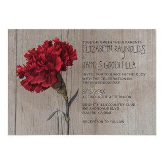 Invitaciones rústicas del boda del clavel invitación