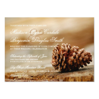"""Invitaciones rústicas del boda del cono del pino invitación 4.5"""" x 6.25"""""""