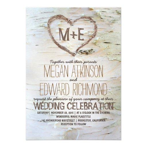 Invitaciones rústicas del boda del corazón del árb invitaciones personales