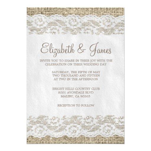 Invitaciones rústicas del boda del cordón de Brown Invitacion Personalizada