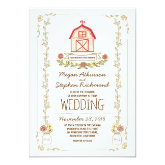 Invitaciones rústicas del boda del granero invitación 12,7 x 17,8 cm