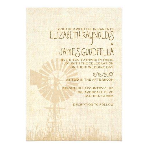 Invitaciones rústicas del boda del molino de vient comunicado personal