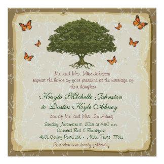 Invitaciones rústicas del boda del monarca y del r invitación personalizada