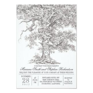 Invitaciones rústicas del boda del roble viejo del invitaciones personales