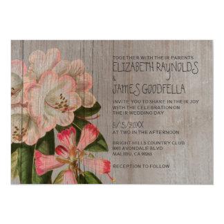 """Invitaciones rústicas del boda del rododendro invitación 5"""" x 7"""""""