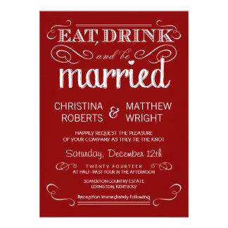 Invitaciones rústicas del boda del rojo carmesí de invitación personalizada