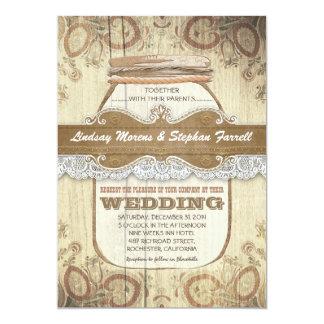 invitaciones rústicas del boda del tarro de invitación 12,7 x 17,8 cm
