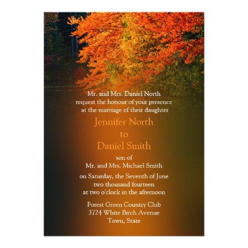 Invitaciones rústicas del boda para la caída invitación personalizada