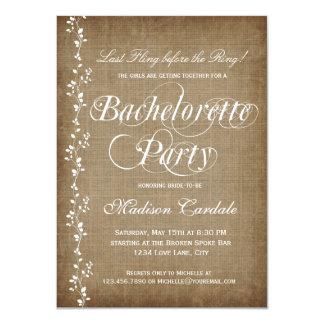 Invitaciones rústicas del fiesta de Bachelorette Comunicados Personales