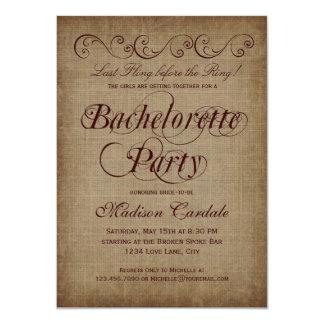 Invitaciones rústicas del fiesta de Bachelorette Comunicado
