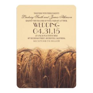 invitaciones rústicas elegantes del boda del trigo invitación 12,7 x 17,8 cm
