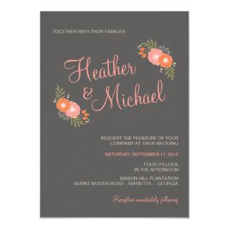 Invitaciones rústicas florales retras del boda invitación 11,4 x 15,8 cm