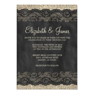 Invitaciones rústicas negras del boda del cordón comunicado