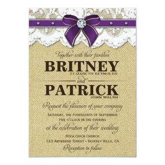 Invitaciones rústicas púrpuras del boda de la anuncios