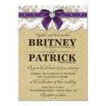 Invitaciones rústicas púrpuras del boda de la invitación 11,4 x 15,8 cm