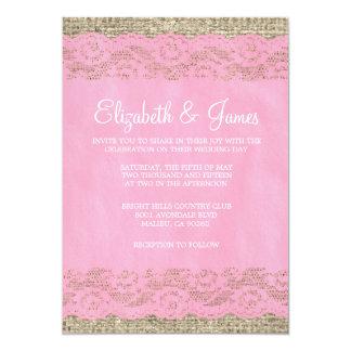 Invitaciones rústicas rosadas del boda del cordón invitación personalizada