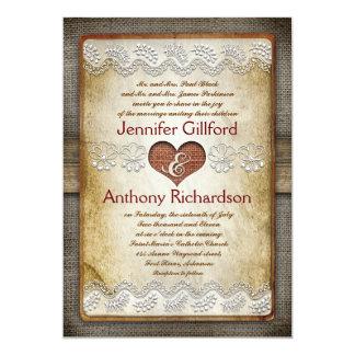 invitaciones rústicas y del vintage del boda invitación 12,7 x 17,8 cm