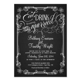 Invitaciones Semi-Formales del boda de la pizarra Comunicado Personalizado