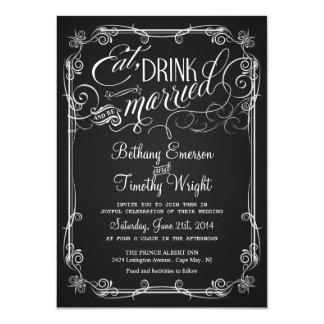 """Invitaciones Semi-Formales del boda de la pizarra Invitación 4.5"""" X 6.25"""""""