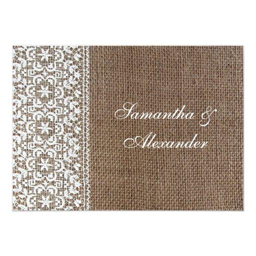 Invitaciones simples de la arpillera y del boda invitacion personalizada