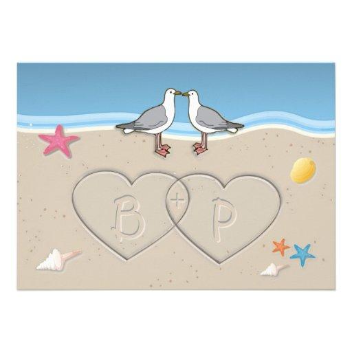 Invitaciones temáticas del boda de la playa de las comunicados personales